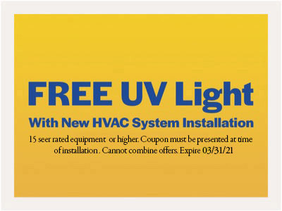 Free UV Light with New HVAC System Installation